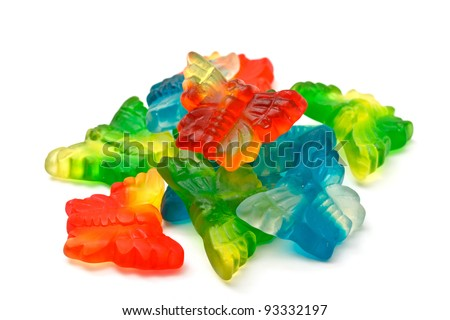 jelly butterfly on white background - stock photo