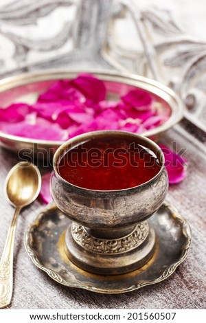 Jelly made of edible rose (rosa rugosa) petals - stock photo