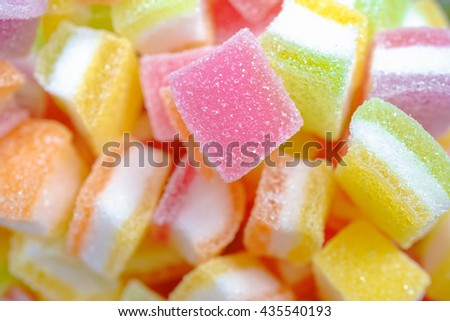 Jelly sweet, flavor fruit, candy dessert colorful on sugar. pattern / texture of jellies. selective focus. - stock photo