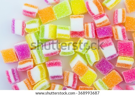Jelly sweet, flavor fruit, candy dessert colorful, on White Background - stock photo