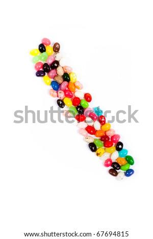 Jellybean alphabet on white background - stock photo