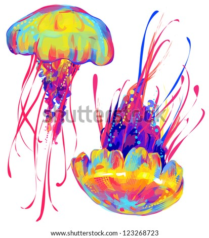jellyfish collection - stock photo