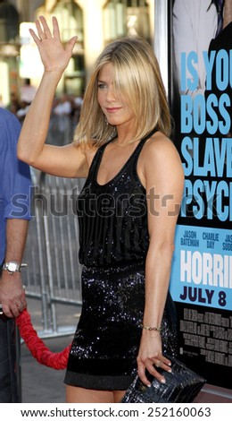 """Jennifer Aniston at the Los Angeles Premiere of """"Horrible Bosses"""" held at the Grauman's Chinese Theater in Los Angeles, California, United States on June 30, 2011. - stock photo"""