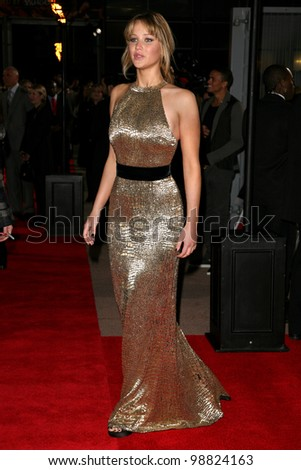 Jennifer Lawrence arriving at the European Premiere of 'The Hunger Games' at the O2 Arena, London. 14/03/2012 Picture by: Alexandra Glen / Featureflash - stock photo