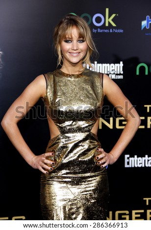 Jennifer Lawrence at the Los Angeles premiere of 'The Hunger Games' held at the Nokia Theatre L.A. Live in Los Angeles on March 12, 2012.  - stock photo