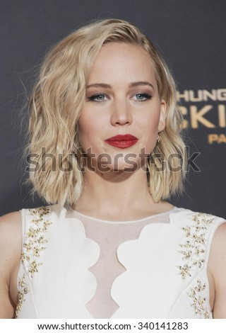 Jennifer Lawrence at the Los Angeles premiere of 'The Hunger Games: Mockingjay - Part 2' held at the Microsoft Theater in Los Angeles, USA on November 16, 2015. - stock photo