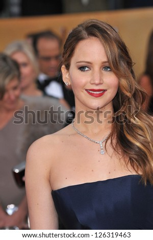 Jennifer Lawrence at the 19th Annual Screen Actors Guild Awards at the Shrine Auditorium, Los Angeles. January 27, 2013  Los Angeles, CA Picture: Paul Smith - stock photo