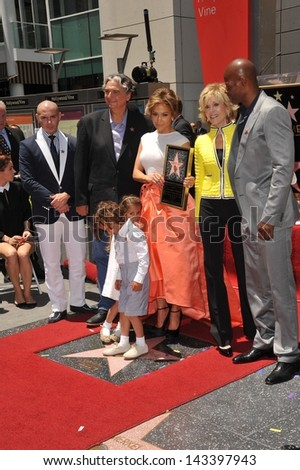 Jennifer Lopez and Jane Fonda on Hollywood Blvd where she was honored with the 2,500th star on the Hollywood Walk of Fame. June 20, 2013 Los Angeles, CA - stock photo