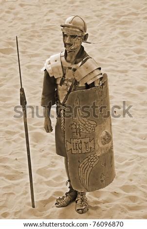 JERASH - NOVEMBER 25: Jordanian men dresses as Roman soldier during a roman army reenactment show on November 25, 2009 in Jerash, Jordan - stock photo