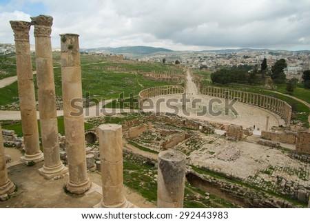 Jerash, roman ancient ruins. Jordan - stock photo