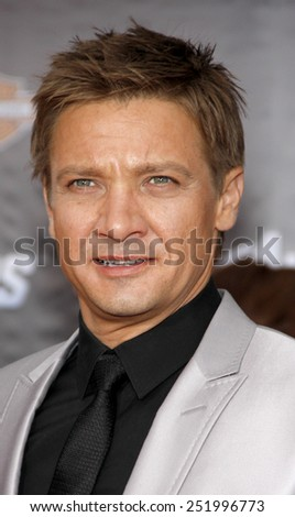 "Jeremy Renner at the Los Angeles Premiere of ""Marvel's The Avengers"" held at the El Capitan Theater, California, United States on April 11, 2012.  - stock photo"