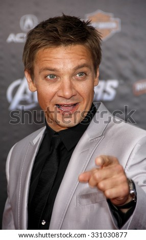 "Jeremy Renner at the Los Angeles premiere of ""The Avengers"" held at the El Capitan Theater in Hollywood, USA on April 11, 2012. - stock photo"
