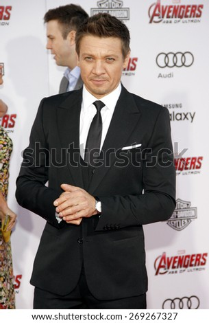 Jeremy Renner at the World premiere of Marvel's 'Avengers: Age Of Ultron' held at the Dolby Theatre in Hollywood, USA on April 13, 2015.  - stock photo