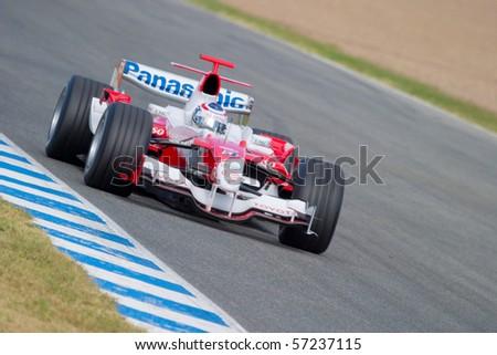 JEREZ DE LA FRONTERA, SPAIN - CIRCA 2006 : Olivier Panis of Toyota F1 on training session circa 2006 in Jerez de la Frontera, Spain. - stock photo