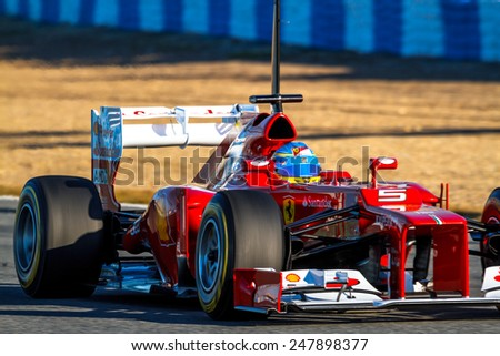 JEREZ DE LA FRONTERA, SPAIN - FEB 10: Fernando Alonso of Scuderia Ferrari F1 races on training session on February 10 , 2012, in Jerez de la Frontera , Spain - stock photo