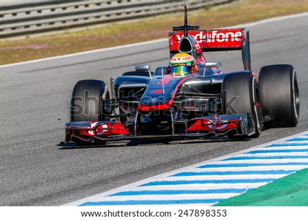 JEREZ DE LA FRONTERA, SPAIN - FEB 10: Lewis Hamilton of McLaren F1 races on training session on February 10 , 2012, in Jerez de la Frontera , Spain - stock photo