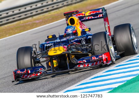 JEREZ DE LA FRONTERA, SPAIN - FEB 10: Sebastian Vettel of Red Bull F1 races on training session on February 10, 2012, in Jerez de la Frontera, Spain - stock photo