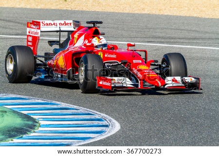 JEREZ DE LA FRONTERA, SPAIN - FEB 01:  Sebastian Vettel of Scuderia Ferrari F1 races 