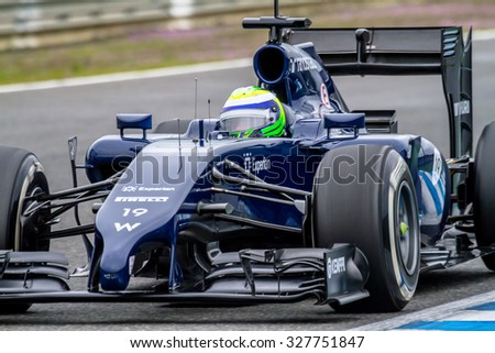 JEREZ DE LA FRONTERA, SPAIN - JAN 31: Felipe Massa of Williams F1 races on training session on January 31 , 2014, in Jerez de la Frontera , Spain - stock photo