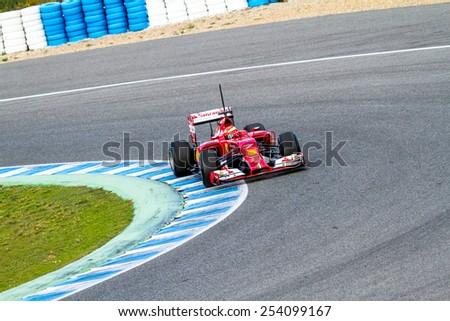 JEREZ DE LA FRONTERA, SPAIN - JAN 28: Kimi Raikkonen of Scuderia Ferrari F1 races on training session on January 28 , 2014, in Jerez de la Frontera , Spain - stock photo
