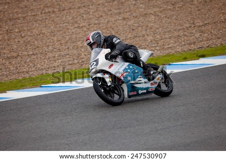 JEREZ DE LA FRONTERA, SPAIN - NOV 20: 125cc motorcyclist Jordan Zamora races in the CEV Championship on Nov 20, 2010, in Jerez de la Frontera, Spain - stock photo
