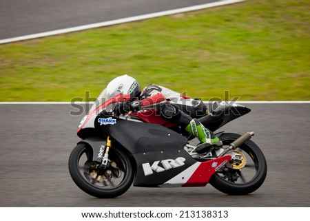 JEREZ DE LA FRONTERA, SPAIN - NOV 20: 125cc Motorcyclist Samuel Hornsey races in the CEV championship on Nov 20, 2010, in Jerez de la Frontera, Spain - stock photo