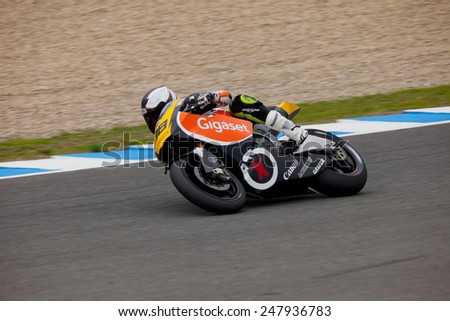 JEREZ DE LA FRONTERA, SPAIN - NOV 20: MOTO2 motorcyclist Jorge Castellanos takes a curve in the CEV Championship on Nov 20, 2010, in Jerez de la Frontera, Spain - stock photo