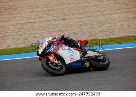 JEREZ DE LA FRONTERA, SPAIN - NOV 20: MOTO2 motorcyclist Luis Miguel Mora takes a curve in the CEV championship on Nov 20, 2010, in Jerez de la Frontera, Spain - stock photo