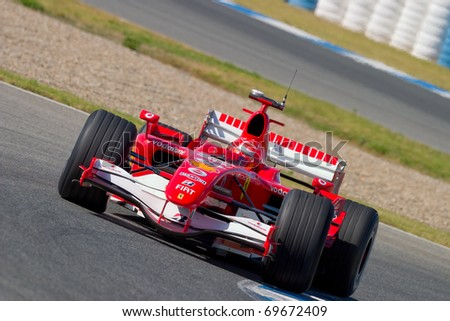 JEREZ DE LA FRONTERA, SPAIN -  OCT 11: Michael Schumacher of Scuderia Ferrari F1 on October 11 , 2006 on training session in Jerez de la Frontera , Spain - stock photo
