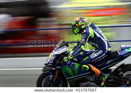 JEREZ - SPAIN, APRIL 23: Italian Yamaha rider Valentino Rossi wins at 2016 Red Bull MotoGP of Spain at Jerez circuit on April 23, 2016 - stock photo