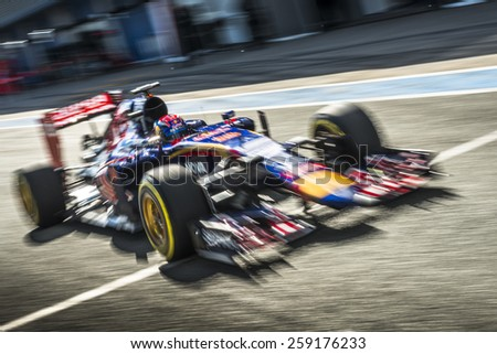 JEREZ, SPAIN - FEBRUARY 2ND: Max Verstappen testing his new STR10 Scuderia Toro Rosso Racing F1 car on the first Test at the Jerez Circuit in Jerez, Andalucia, Spain on Feb. 2, 2015. - stock photo