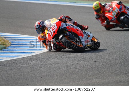 JEREZ - SPAIN, MAY 4: Spanish Honda rider Marc Marquez during practice at 2013 Bwin MotoGP of Spain at Jerez circuit on May 4, 2013 - stock photo