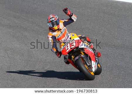 JEREZ - SPAIN, MAY 5: Spanish Honda rider Marc Marquez wins the 2014 Bwin MotoGP of Spain at Jerez circuit on May 5, 2014 - stock photo