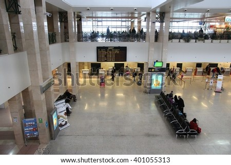 JEREZ, SPAIN - NOVEMBER 5, 2012: Passengers hurry at Jerez Airport in Spain. The airport in Andalusia region served 758,309 passengers in 2014. - stock photo