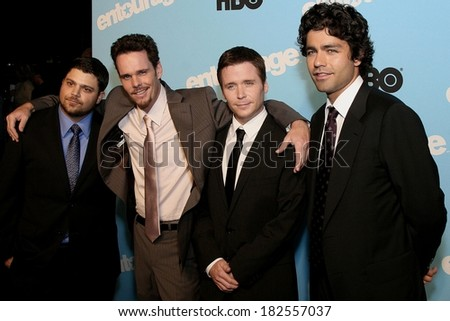 Jerry Ferrara, Kevin Dillon, Kevin Connolly, Adrian Grenier at ENTOURAGE Premiere of Season Five on HBO, The Ziegfeld Theatre, New York, NY, September 03, 2008 - stock photo