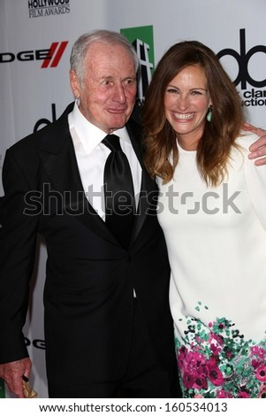 Jerry Weintraub and Julia Roberts at the 17th Annual Hollywood Film Awards Arrivals, Beverly Hilton Hotel, Beverly Hills, CA 10-21-13 - stock photo