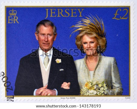 JERSEY - CIRCA 2006: A stamp printed in Jersey commemorating wedding the Prince of Wales and Camilla Parker Bowles, circa 2006. - stock photo