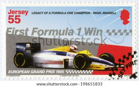 """JERSEY - CIRCA 2013: A stamp printed in Jersey dedicated Nigel Mansell, First Formula One Win at the 1985 European Grand Prix, """"Legacy of a Formula One champion - Nigel Mansell"""", circa 2013  - stock photo"""