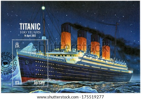 JERSEY - CIRCA 2012: A stamp printed in Jersey shows Titanic - 100 years, circa 2012 - stock photo