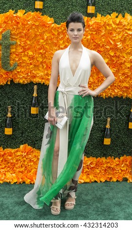 Jersey City, NJ USA - June 4, 2016: Jaimie Alexander attends 9th annual Veuve Clicquot Polo Classic at Liberty State Park - stock photo