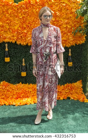 Jersey City, NJ USA - June 4, 2016: Olivia Palermo attends 9th annual Veuve Clicquot Polo Classic at Liberty State Park - stock photo