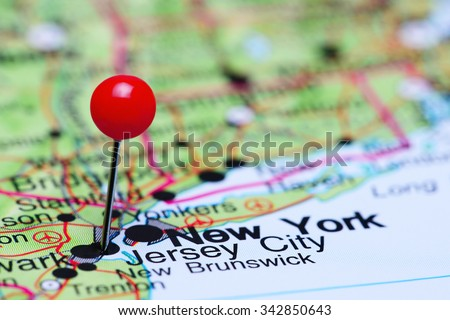 Jersey City pinned on a map of USA  - stock photo