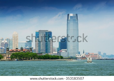 Jersey City skyline as seen from New York. - stock photo