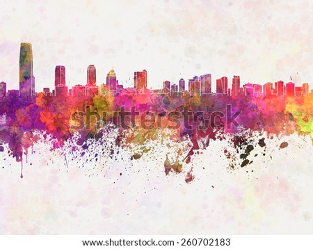 Jersey City skyline in watercolor background - stock photo