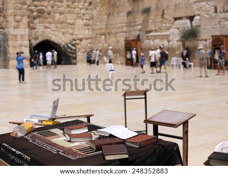 Jerusalem, Israel - August 11, 2014:religious books near the Western Wall - stock photo