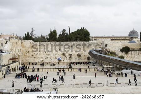 Jerusalem , Israel - January 06 . 2015 : Beautiful photo at the Wailing Wall in the Old City of Jerusalem. Praying at the Wailing Wall. Israel. - stock photo