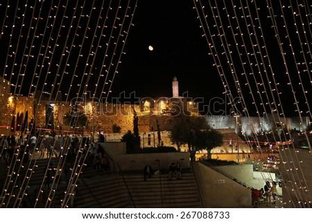 "JERUSALEM, ISRAEL - JUNE 18, 2014: Tower of David during the festival ""Light of Jerusalem"" - stock photo"