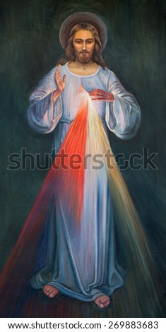 JERUSALEM, ISRAEL - MARCH 4, 2015: The modern paint of Jesus in Armenian Church Of Our Lady Of The Spasm by unknown artist. - stock photo