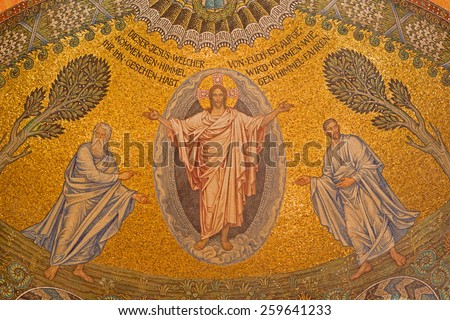 JERUSALEM, ISRAEL - MARCH 3, 2015: The mosaic of resurrected Christ on ceiling of Evangelical Lutheran Church of Ascension designed by H. Schaper and F. Pfannschmidt (1988-1991) - stock photo