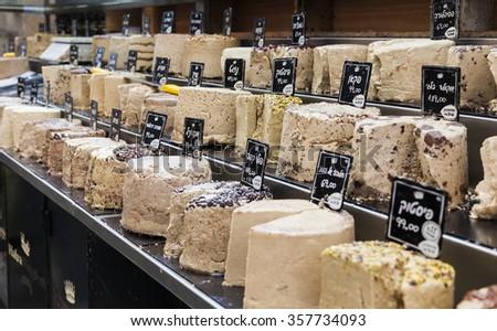 JERUSALEM, ISRAEL - NOVEMBER 2, 2014:  Halva for sale at Machane Yehuda Market. - stock photo